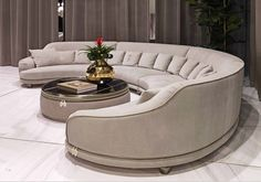 If you're replacing an old sofa and are contented with its size, just measure the measurements of the furniture. A round sofa may be an artistic piece to adorn your room, rather than only a s… Living Room Sofa Design, Living Room Modern, Home Living Room, Interior Design Living Room, Living Room Designs, Gebogenes Sofa, Sofa Furniture, Luxury Furniture, Furniture Design