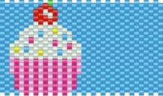 Big Cupcake Pony Bead Patterns | Food Kandi Patterns for Kandi Cuffs