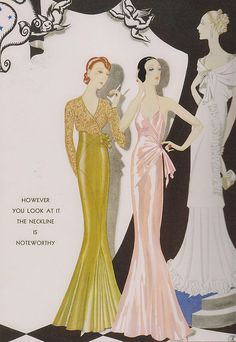 "Gowns by Augustabernard (1933)  From ""Harper's Bazaar""  By Charles Martin"
