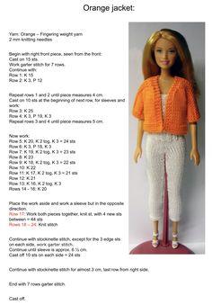 Barbie Clothes Patterns, Crochet Barbie Clothes, Doll Clothes Barbie, Barbie Doll, Clothing Patterns, Barbie Knitting Patterns, Knitted Doll Patterns, Knitting Dolls Clothes, Knitted Dolls