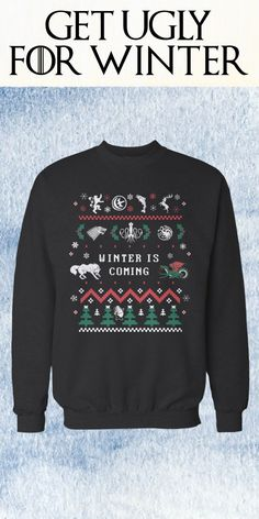 Winter is coming, and this ugly Christmas sweater is the best way to ward off the White Walkers in style! Game of Thrones fans will love the detail that shows the sigils of the major houses, which is nicely mashed up in a Christmas style. This limited edition item is also as a t-shirt and hoodie.