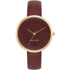 Nine West Women's Burgundy Faux Leather Strap Watch 36mm (660.080 IDR) ❤ liked on Polyvore featuring jewelry, watches, burgundy, dial watches, nine west jewelry, nine west, nine west watches and burgundy jewelry