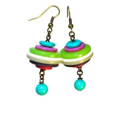Funky Eclectic Jewelry Button Dangle Earrings  by BluKatDesign