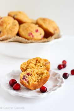Healthy Cranberry Orange Cornmeal Muffins from @cookincanuck