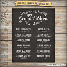 Grandchildren Chalkboard Personalized Grandkids Sign, Custom Gift for Grandparents, Grandparent Gift, Grandma Grandpa Digital Printable File by PRINTSbyMAdesign on Etsy
