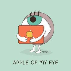 "Hello people! Our hero of the day is ""Apple of my eye"", which means ""the person who you love most.""   Image by: Dings & Doodles-Keren Rosen קרן רוזן"