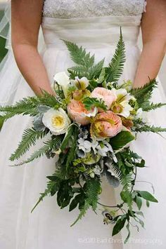 Bride's Beautiful Bouquet: White English Garden Roses, Peach English Garden Roses, White Calla Lilies, White/Green Lady's Slipper Orchids, Dusty Miller, Several Varieties Of Green Fern + Additional Greenery/Foliage ~~