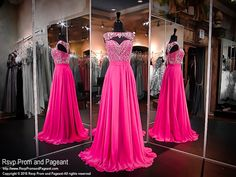 Cerise Sweetheart/High Neckline Chiffon Prom Dress