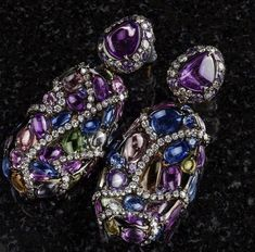 Repost from using - You're on my mind again… Just some lovely dirty thoughts. Funky Jewelry, I Love Jewelry, High Jewelry, Bohemian Jewelry, Indian Jewelry, Unique Jewelry, Jewellery, Sapphire Jewelry, Beautiful Earrings