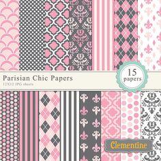Printable Damask Scrapbook Paper 12x12, Polka Dots Scrapbook Paper, Parisian Chic Digital Paper - Instant Download