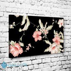 Siyah Zemin Çiçek Desen Tablo #çiçekli_kanvas_tablo