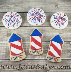 janisbakes red white and blue firework decorated cookies