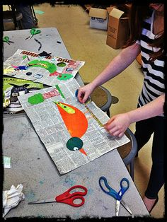 Mixed media collage. bird self-portrait:  it's an HSES Arty Party!
