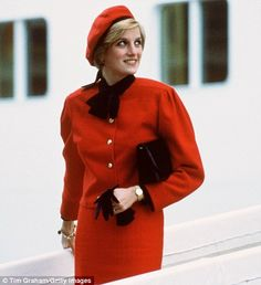 Diana, Princess of Wales also wore a similar, though less tailored red coat aboard the P&O cruise liner 'Royal Princess', named in honour of her, during a formal naming ceremony at Southampton