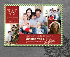 Custom Photo Christmas Card  Four Photo Classic by WolcottDesigns. This is a DIY printable card. $14.00 unlimited prints.