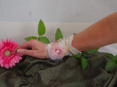 SALE 10.00  fabric cuff bracelet shabby chic cottage chic vintage inspired french chic on Etsy, $10.00