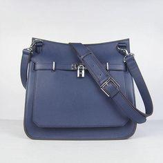 Hermes Jypsiere Dark Blue Shoulder Bags Messenger Bag Silver