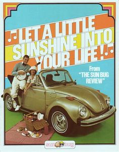 Sun Bug - The gold-coloured 'Sun Bug' was one of the first limited editions marketed by Volkswagen in the USA. It was basically an attempt to keep interest in the Beetle range alive until the new water-cooled cars arrived. Volkswagen Convertible, Beetle Convertible, Volkswagen New Beetle, Beetle Bug, Vw Cabrio, Kdf Wagen, Most Popular Cars, Car Advertising, Vw Beetles