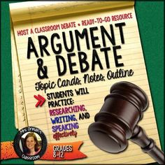 As if kids need a reason to engage in a healthy debate! Channel that for Argumentative and Debate Topic Cards with Teacher's Guidelines and Instructions, Student Handouts, and Grading Rubrics (Aligned with the Common Core State Standards) Teaching Schools, Help Teaching, Teaching Writing, Teaching Ideas, Argumentative Writing, Persuasive Essays, Essay Writing, Writing Prompts, Writing Workshop