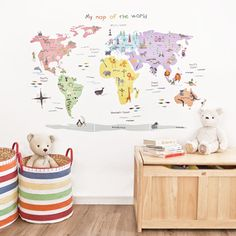 Map Of The World Wall Stickers, Room Decorations and Pictures, Nursery