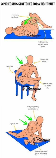Have you ever experienced a stabbing or dull ache in the buttocks a spasm that shoots down from your hip or a burning pain in the back of your leg? This uncommon condition is called the piriformis syndrome and its considered to be an uncommon neuromuscu Fitness Hacks, Fitness Workouts, Yoga Fitness, Health Fitness, Back Exercises, Stretching Exercises, Stretches, Sciatica Exercises, Yoga Positionen