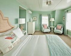 Dormitorios en color verde menta