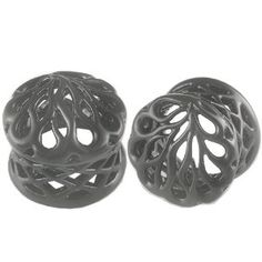 5/8 inch 16mm - Black Alloy Double Flared Flare Ear Large Gauge Plugs Flesh Tunnels Earlets CVMJ - Ear stretched Stretching Expanders Stretc...