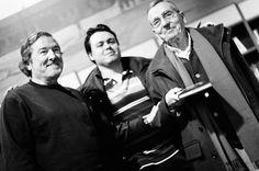 Tres generaciones de investigadores del misterio...Juan José Benítez, David Cuevas e Ignacio Darnaude en el año 2012..