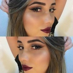 simple eye makeup with dark lips makeup style valentines day 2015