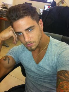 Guys with dark hair and blue eyes ;)....wow