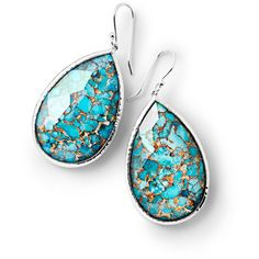 Ippolita 925 Rock Candy Large Turquoise Pear Drop Earrings ($1,060) ❤ liked on Polyvore featuring jewelry, earrings, turquoise, drop earrings, clear drop earrings, rock earrings, rock jewelry and hammered earrings