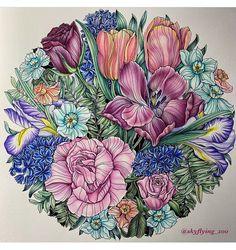 Colouring Pages, Coloring Books, Spring Garden, Tropical Flowers, Color Pallets, Textile Prints, Art Tutorials, Adult Coloring, Unique Vintage