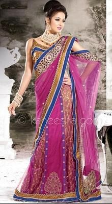 Sparkling Pink Embroidered Saree