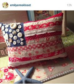 Make this darling flag pillow from scraps of vintage fabric, lace and a handful of