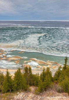 """spring, melting ice """"pancakes"""" on Lake Michigan, Peterson Road Beach, Sleeping Bear National Lakeshore, Michigan"""
