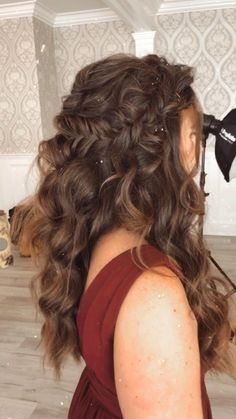 Quince Hairstyles, Prom Hairstyles For Long Hair, Homecoming Hairstyles, Glam Hairstyles, Hairstyles For Weddings Bridesmaid, Hairstyles For Dresses, Bridal Party Hairstyles, Bohemian Wedding Hairstyles, Hair For Prom