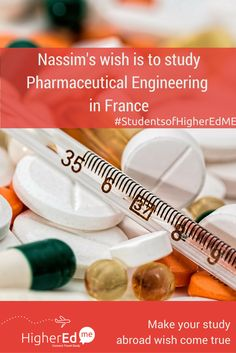 Nassim has shared his  wish to #studyabroad #PharmaceuticalEngineering in #France with his friends  Like if you want to study Pharmaceutical Engineering  too :) #studentsofHigherEdMe  Make your study abroad wish too! http://higheredme.co?wishtoo&utm_content=bufferbcf8f&utm_medium=social&utm_source=pinterest.com&utm_campaign=buffer  #Student #Dream #StudentDream