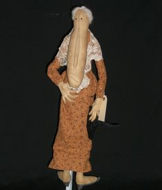 Primitive Folk Art Doll  The Old Croney by GramsGrungyPrims, $35.00