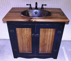 """Country Pine Bathroom Vanity with Hammered Copper Sink: 36 inches wide Rustic Bathroom Vanity - Antique Black with Pine -36"""" - Custom Made by CantonAntiques on Etsy https://www.etsy.com/listing/226184042/country-pine-bathroom-vanity-with"""