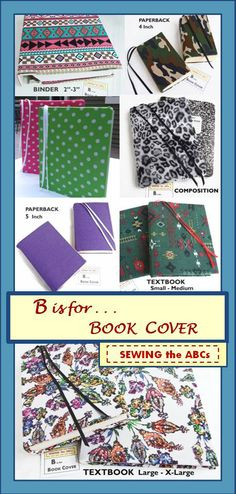 Stretch Book Covers in Multiple sizes to fit Textbooks, Binders, Paperbacks, Composition Notebooks . . . DECORATE your books and leave your personal mark on your stuff . . . It's EASY with reusable stretch covers that can fit more than one book. PIN IT to FIND IT . . . at SEWING the ABCs on ETSY https://www.etsy.com/shop/SEWINGtheABCs?section_id=15769467&ref=shopsection_leftnav_7