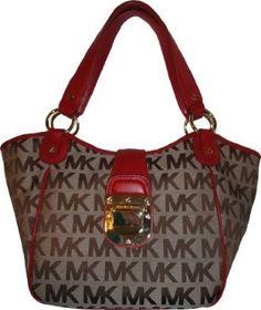 Women's Michael Kors Purse Handbag Charlton Medium Tote RTW Jacquard Beige/Ebony/Red $268.00