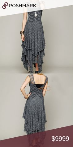 """GORGEOUS LACE OVERLAY 2 PIECE BOHOMIDI MAXI DRESS ♡BEAUTIFUL GRAY/SILVER LACE overlay 2 piece boho/gypsy style dress. Has form fitting separate slip in black, is shorter at mid-upper thigh w/adjustable straps. LACE overlay & cap sleeves w/ deep V back. Versatile from flip flops to fancy boots! Overlay is flowy & slinky over silky slip. Somewhat fitted thru upper chest & gradually flows out. Model is about 5'8"""" tall. PLEASE SEE SIZE CHART and more information in comments section on this super…"""