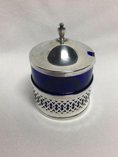Webster Sterling Silver Cobalt Blue Glass Mustard Pot Jar #Webster