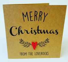 PERSONALISED Handmade Christmas Card Heart Button Vintage Shabby Chic Style