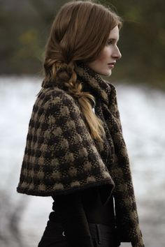 Knitted cape with attached scarf...umm this is gorg and I either need to 1.learn to knit, or the more likely, 2. find someone who can knit to make this for me!
