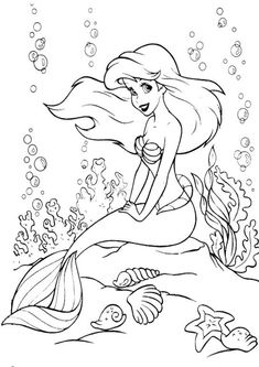 Ariel Coloring Pages, Free Kids Coloring Pages, Disney Princess Coloring Pages, Disney Princess Colors, Colouring Pages, Coloring Pages For Kids, Coloring Books, Easy Fish Drawing, Fish Drawings