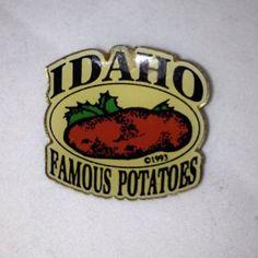 Idaho Famous Potatoes Gold Tone Enamel Pinback Lapel Pin 1993