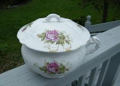 Antique Old Victorian Buffalo Pottery Chamber Pot with Lid Pink Yellow Rose | eBay