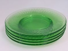 Hocking Glass Spiral Green Depression Luncheon Plates Set of 4 - Etagere Antiques, Vintage, Collectibles
