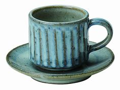 Shigaraki Yaki Pottery Cup & Saucer 'Hechimon Aoyagi' Diameter : 7.5cm x Height :6.5cm  Weight : 440g  Capacity : 210cc  Material : Pottery from Shiga Prefecture  Dishwasher : No AS$38.7
